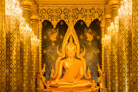 Public place Buddha statue at Wat Phra Sri Rattana Mahathat temple (Wat Yai) call names Phra Buddha Chinnarat. The most important monastery of Phitsanulok, Thailand. The famous Phra Buddha Chinnarat. Stock Photo