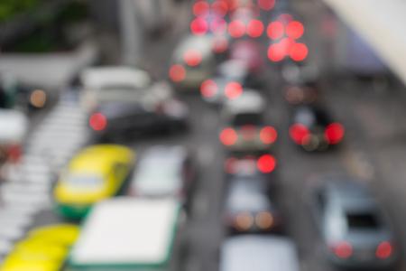 tiedup: Blurred or Defocus image of traffic jams in the city, road, rush hour.