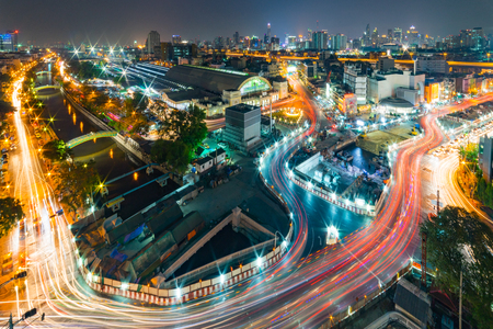 Landscape of Bangkok City skyline - Beautiful view of Hua Lamphong station Bangkok railway station, Thailand