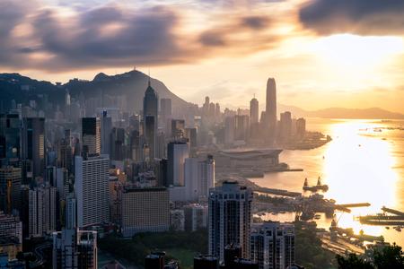Hong Kong City skyline at sunset. View from Braemar hill Hongkong.