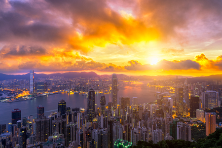 Hong Kong City skyline at sunrise. View from The Peak Hongkong. from night to day 版權商用圖片