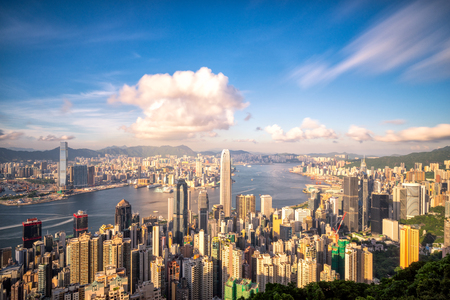 Panorama of Hong Kong City skyline before sunset. View from The peak Hongkong.