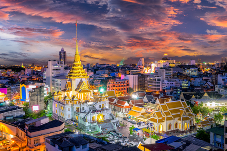 Sunset sence of Wat Traimit Witthayaram Worawihan,Temple of the Golden Buddha in Bangkok, Thailand. It is one of Bangkoks most beautiful temples and a major tourist . form Day to night