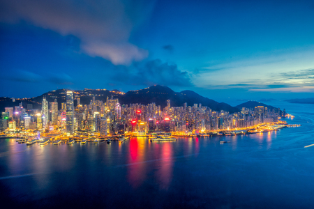 Panorama of Hong Kong City skyline at sunset . View from sky 100 Hongkong. Standard-Bild