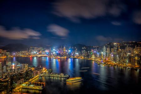 Panorama of Hong Kong City skyline at sunset . View from sky 100 Hongkong. Stock Photo