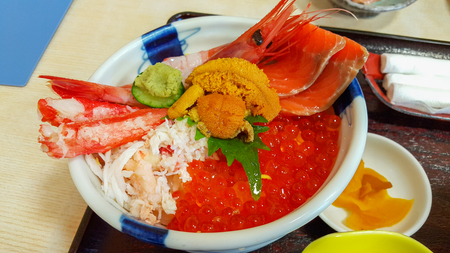 Seafood bowl with Japanese rice set Hokkaido Hakodate ,Japan