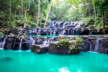 Amazing beautiful waterfalls in tropical forest at Namtok sam lan waterfall national park in Saraburi Province, Thailand.