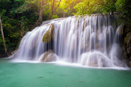 Amazing beautiful waterfalls level two in tropical forest at Erawan Waterfall in Erawan National Park, Kanchanaburi Province, Thailand