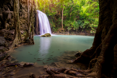 Amazing beautiful waterfalls level three in tropical forest at Erawan Waterfall in Erawan National Park, Kanchanaburi Province, Thailand 版權商用圖片