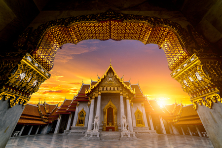 Sunrise sence of The Marble Temple, Wat Benchamabophit Dusitvanaram is a Buddhist temple in the Dusit district of Bangkok, Thailand. It is one of Bangkoks most beautiful temples and a major tourist