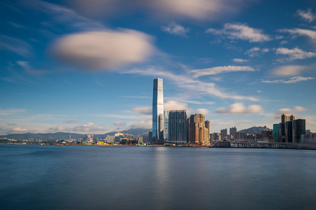 Hong Kong City skyline at sunrise. View from across central district Hongkong.