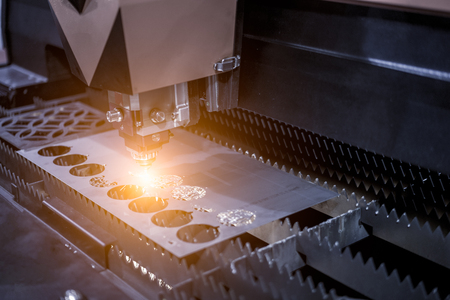 Metalworking CNC milling machine. Cutting metal modern processing technology. 스톡 콘텐츠