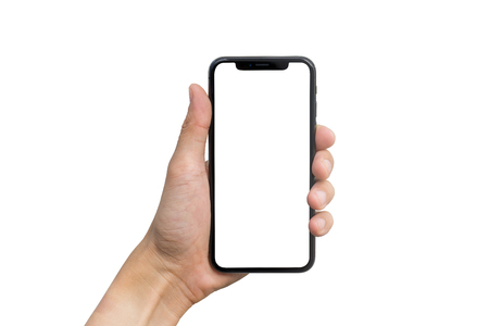 Mans hand shows mobile smartphone with white screen in vertical position isolated on white background