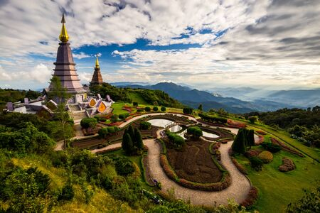 Landscape of two pagoda on the top of Inthanon mountain in doi Inthanon national park, Chiang Mai, Thailand. Stock Photo