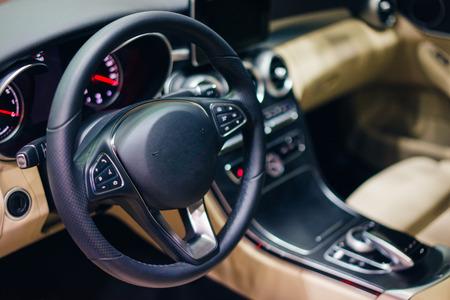 inside luxury car and interior modern car 스톡 콘텐츠