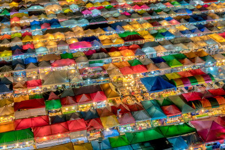Aerial view of  night market in Bangkok city , Thailand. And colourful tents Stock Photo