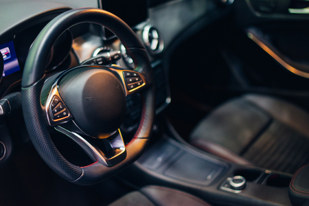 inside luxury car and interior modern car Stock Photo