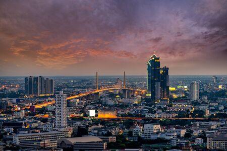 Sunset scence of Rama 9 Bridge at Chaopraya river at Bangkok Thailand.
