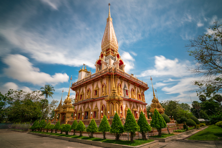 Beautiful pagoda in Wat Chalong or Chalong temple at Phuket town, Thailand. Its most popular thai temple in Phuket Thailand.