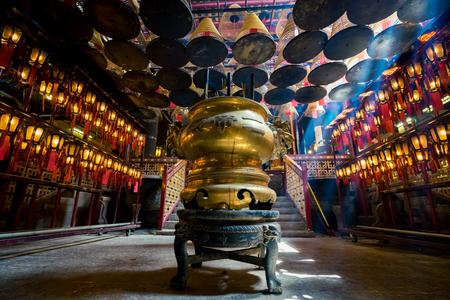 Man Mo Temple at Hong Kong .  It is popular temple in Hongkong . 에디토리얼