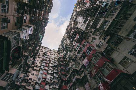 HongKong. Old tall and dense residential building in Hong Kong. 스톡 콘텐츠