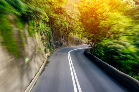 Motion blurred of road to The Victoria Peak Hong Kong