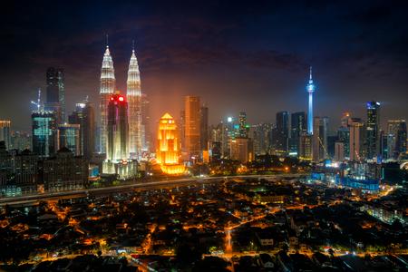 Cityscape of Kuala Lumpur Panorama at night. Panoramic image of skyscraper at Kuala Lumpur, Malaysia skyline at dusk.
