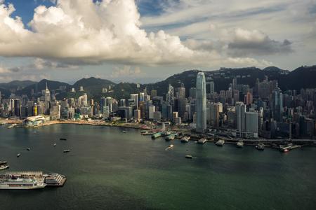 Panorama of Hong Kong City skyline . View from sky 100 Hongkong.