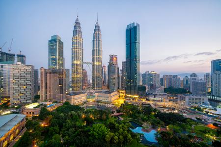 Cityscape of Kuala Lumpur Panorama at sunrise. Panoramic image of skyscraper at Kuala Lumpur, Malaysia skyline at dawn. Editorial