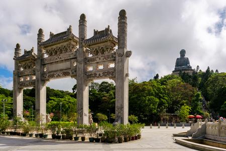 Hongkong scenic Tian Tan Buddha or Big Buddha, a large bronze statue at Ngong Ping, Lantau Island, Hong Kong. Stock Photo