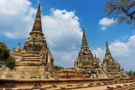 Three old pagoda at Wat Phra Si Sanphet in Ayutthaya historical park at Ayutthaya province near Bangkok Thailand.