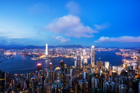 View of Hong Kong City skyline at dusk. View from The peak Hongkong. Stock Photo