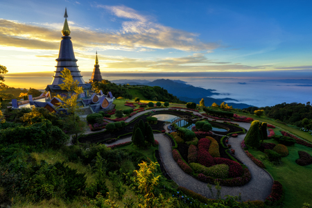 Sunrise scence of two pagoda on the top of Inthanon mountain in doi Inthanon national park, Chiang Mai, Thailand.