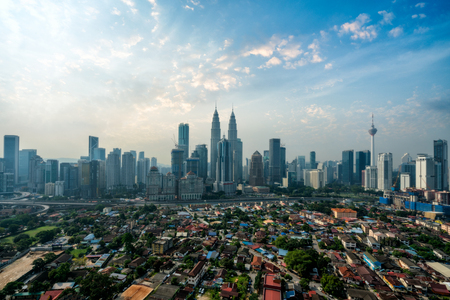 Cityscape of Kuala Lumpur Panorama at morning. Panoramic image of skyscraper at Kuala Lumpur, Malaysia skyline at sunrise.