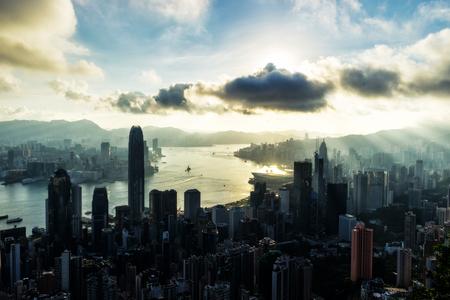 Hong Kong City skyline at sunrise. View from The Peak Hongkong. Stock Photo