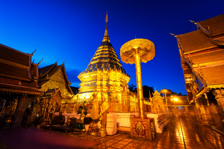 Wat Phra That Doi Suthep temple is a popular temple of Chiang Mai, Thailand at sunset.