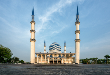 Sunrise scene of Blue Mosque or Sultan Salahuddin Abdul Aziz Shah Mosque location at Shah Alam Selangor near Kuala Lumpur, Malaysia.
