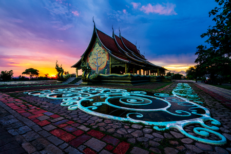 Sunset scene of Wat Sirindhorn Wararam Phu Prao temple or Wat Phu Prao is situated near the border between Thai and Laos at Ubon Ratchathani, Thailand.