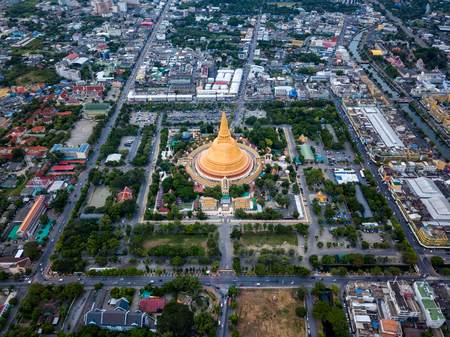 Aerial view of Phra Pathom chedi Oldest Buddhist structure in Thailand. One of the most important places for Buddhists in Thailand can be found in Nakhon Pathom, one of the oldest cities in Thailand.