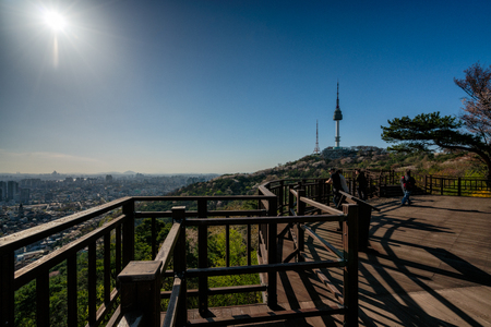 Sunset scene of N Seoul Tower at Namsan Mountain in Seoul City, South Korea.