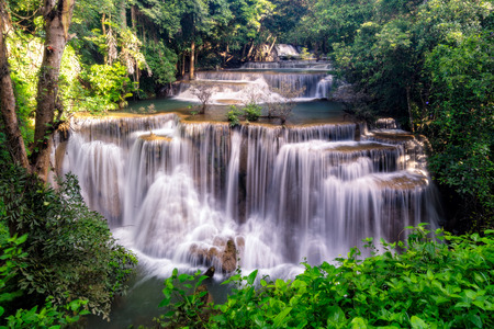 Amazing beautiful waterfalls in tropical forest at Huay Mae Khamin Waterfall level 4 in Srinakarin Dam National Park, Kanchanaburi Provice, Thailand