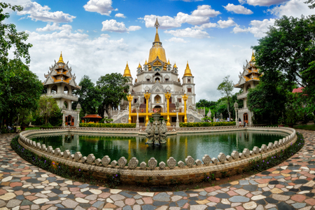 Panorama of Buu Long Pagoda in Ho Chi Minh City. A beautiful buddhist temple hidden away in Ho Chi Minh City at Vietnam