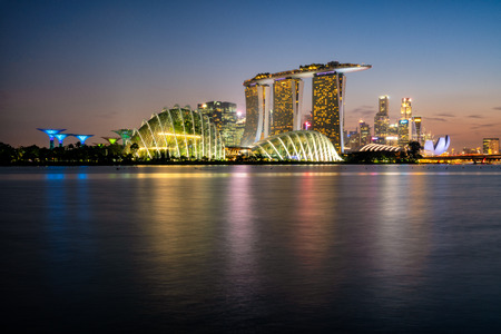Cityscape of the Singapore landmark financial district at twilight sunset scene at twilight. Singapore city downtown Stockfoto - 110805722