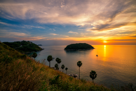 Promthep Cape viewpoint at Phuket southern of Thailand at sunset.