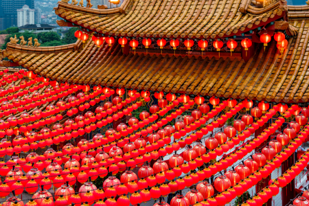 Red lanterns decorations in chinese temple name is Thean Hou Temple at Kuala Lumpur, Malaysia. This place is famous during the celebration of Chinese New Year. Stockfoto