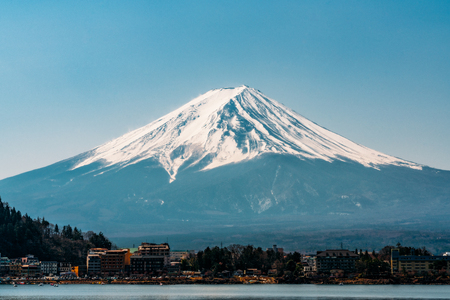 Landscape of mount fuji from lake kawaguchi side, Mt Fuji beautiful view from the lake kawaguchiko near Tokyo in Japan
