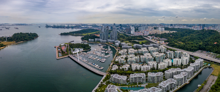 Panorama aerial view of keppel bay with modern residence in Singapore city. Фото со стока