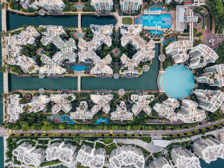 Top view of keppel bay with modern residence in Singapore city. Stockfoto - 122898531