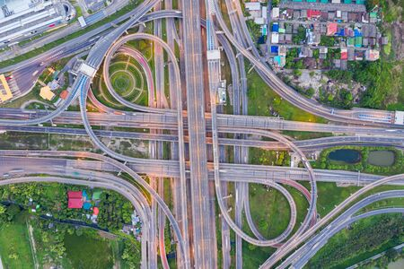 Top view of Highway road junctions. The Intersection freeway road overpass the western outer ring road of Bangkok, Thailand. Stockfoto - 131978680
