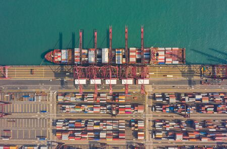 Top view of international port with Crane loading containers in import export business logistics at Hong Kong in China Stock fotó - 140527735